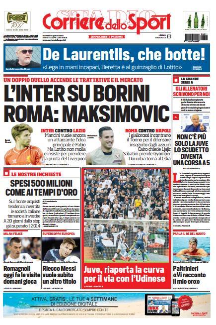Portada de Corriere dello Sport del 11 de agosto de 2015