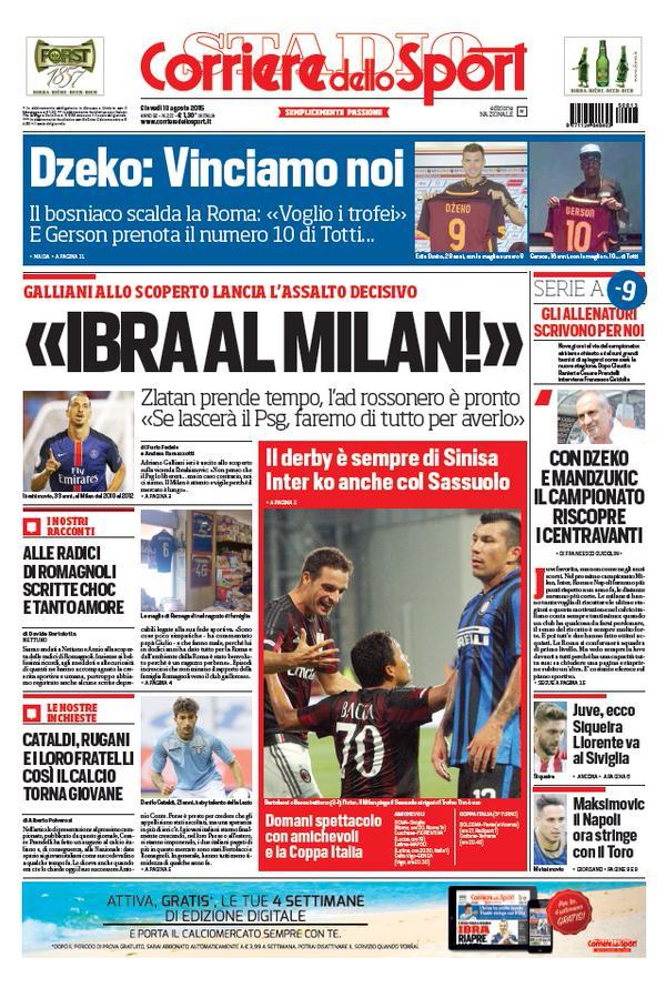 Portada de Corriere dello Sport del 13 de agosto de 2015