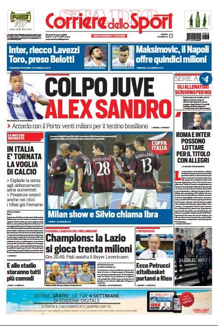 Portada de Corriere dello Sport del 18 de agosto de 2015