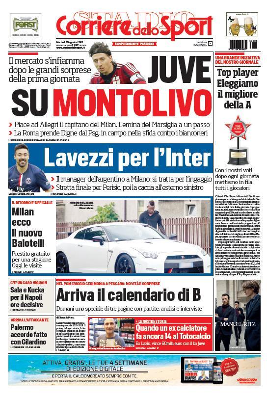 Portada de Corriere dello Sport del 25 de agosto de 2015
