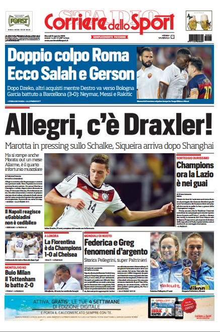 Portada de Corriere dello Sport del 6 de agosto de 2015