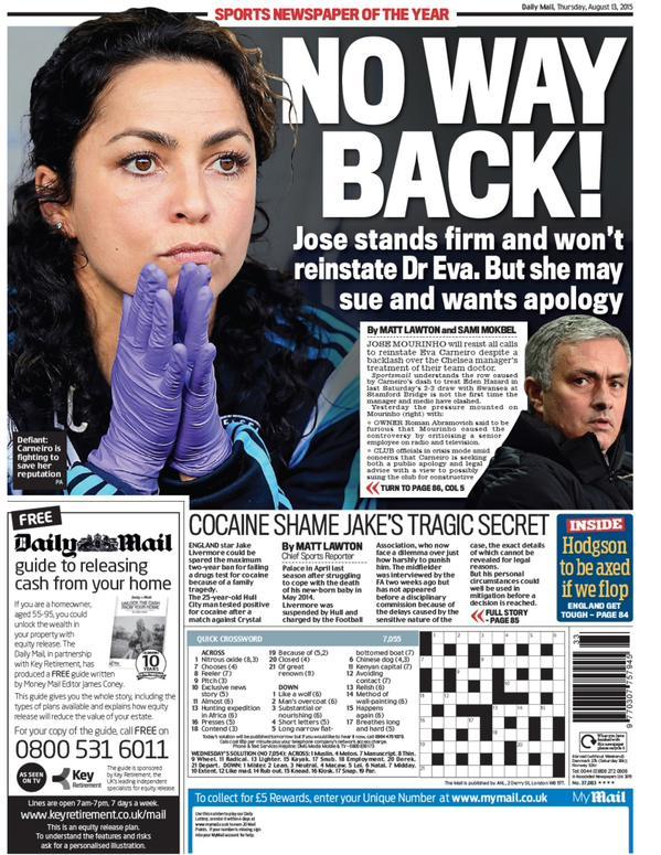 Portada de Daily Mail del 13 de agosto de 2015