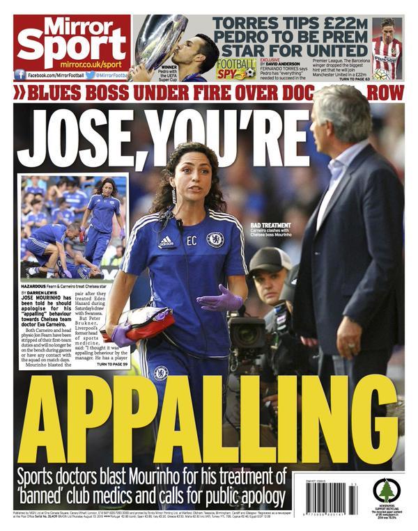Portada de Daily Mirror  del 13 de agosto de 2015