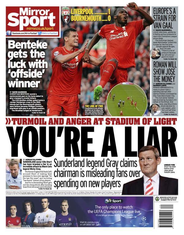 Portada de Daily Mirror del 18 de agosto de 2015