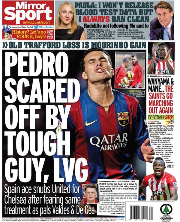 Portada de Daily Mirror del 20 de agosto de 2015