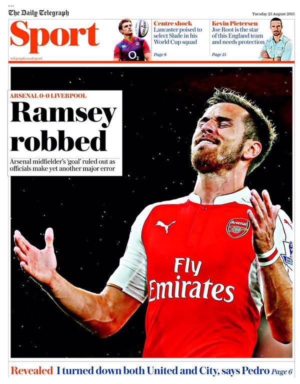 Portada de Daily Telegraph del 25 de agosto de 2015