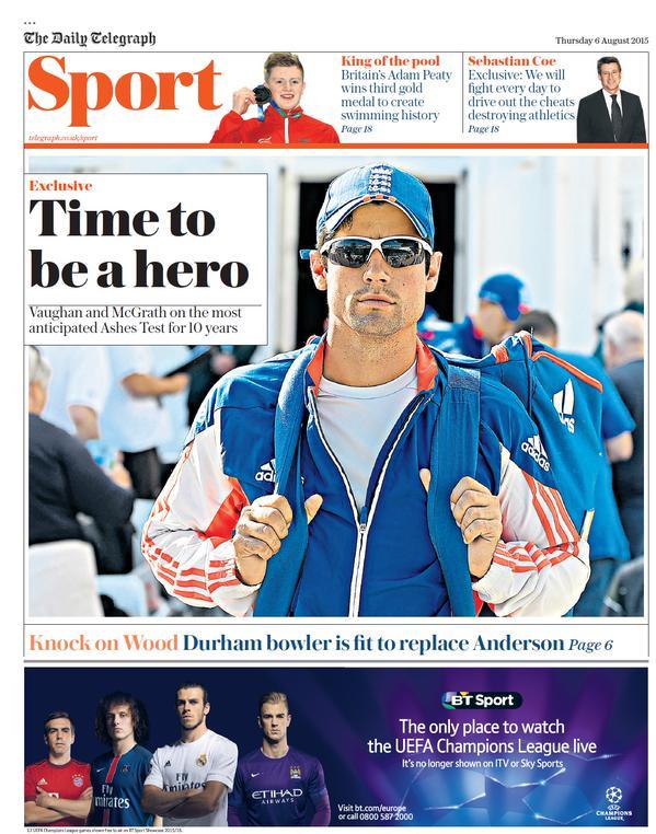 Portada de Daily Telegraph del 6 de agosto de 2015