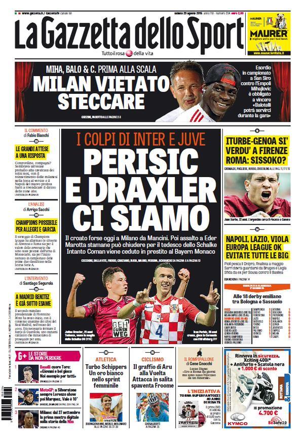 Portada de Gazzetta dello Sport 29 de agosto de 2015