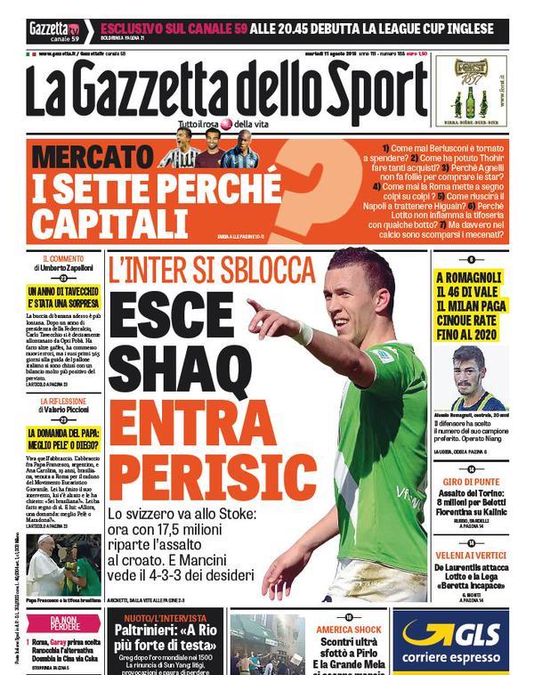 Portada de Gazzetta dello Sport del 11 de agosto de 2015