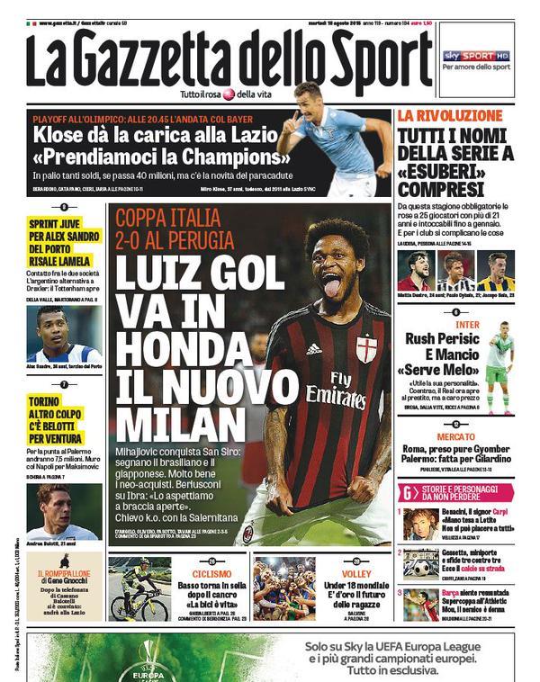 Portada de Gazzetta dello Sport del 18 de agosto de 2015