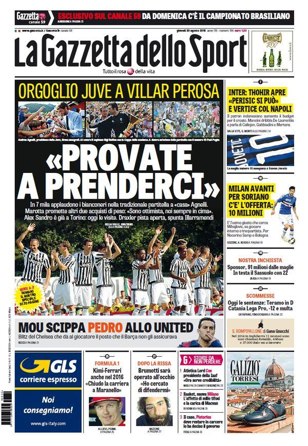 Portada de Gazzetta dello Sport del 20 de agosto de 2015