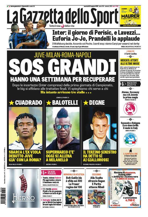Portada de Gazzetta dello Sport del 25 de agosto de 2015