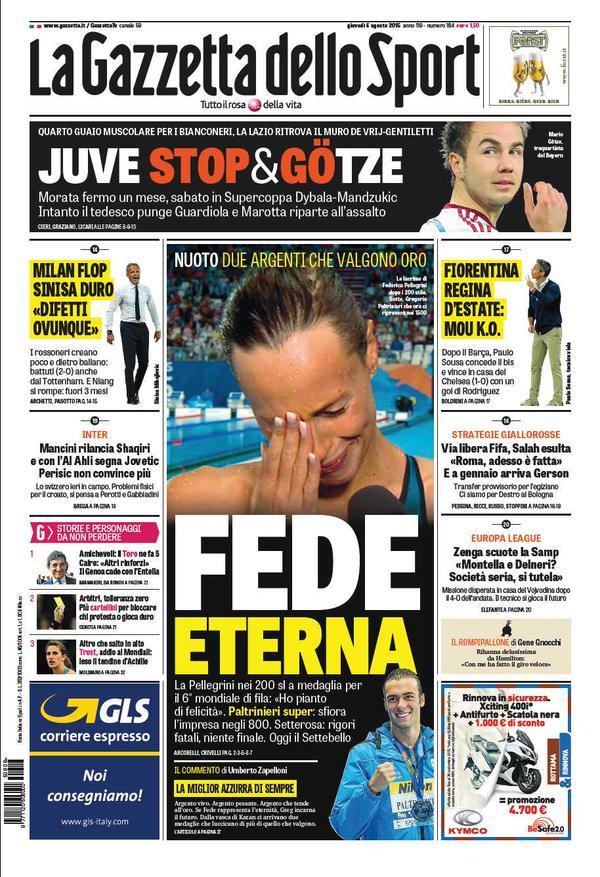 Portada de Gazzetta dello Sport del 6 de agosto de 2015