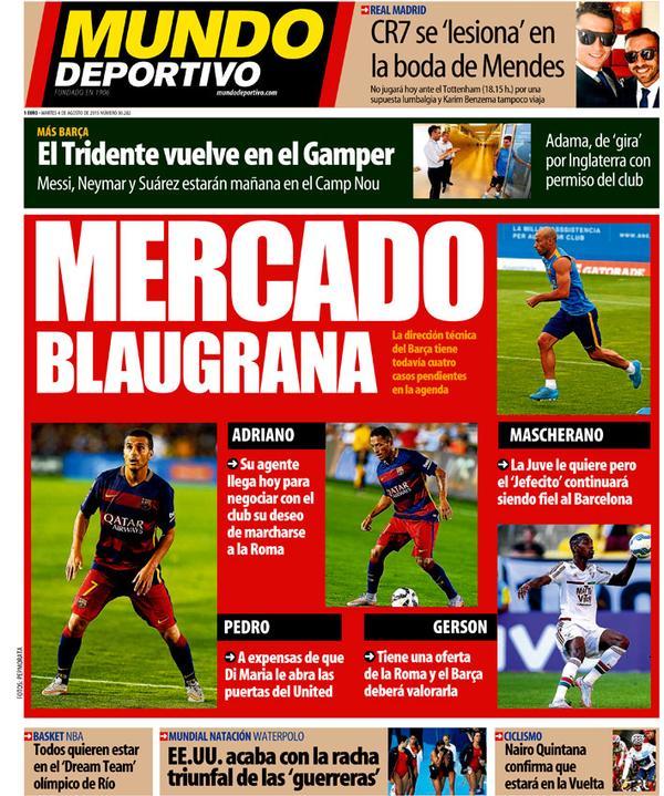 Portada de Mundo Deportivo de 04 de Agosto de 2015