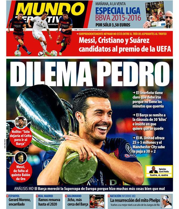 Portada de Mundo Deportivo del 13 de agosto de 2015