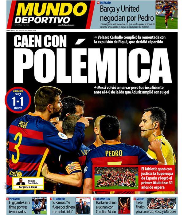 Portada de Mundo Deportivo del 18 de agosto de 2015