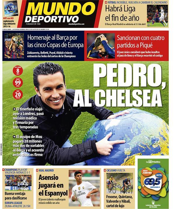 Portada de Mundo Deportivo del 20 de agosto de 2015
