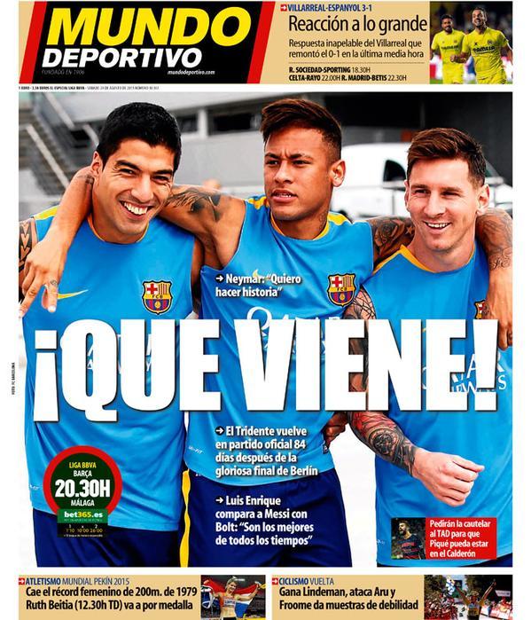 Portada de Mundo Deportivo del 29 de agosto de 2015
