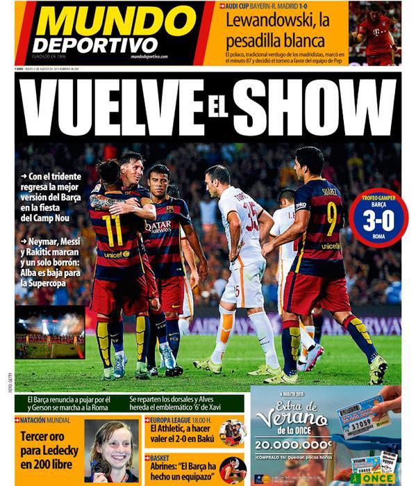 Portada de Mundo Deportivo del 6 de agosto de 2015