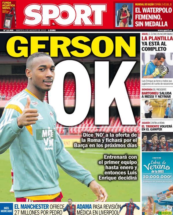 Portada de Sport de 04 de Agosto de 2015