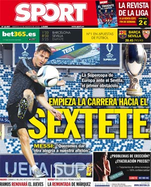 Portada de Sport del 11 de agosto de 2015