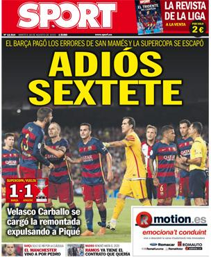 Portada de Sport del 18 de agosto de 2015