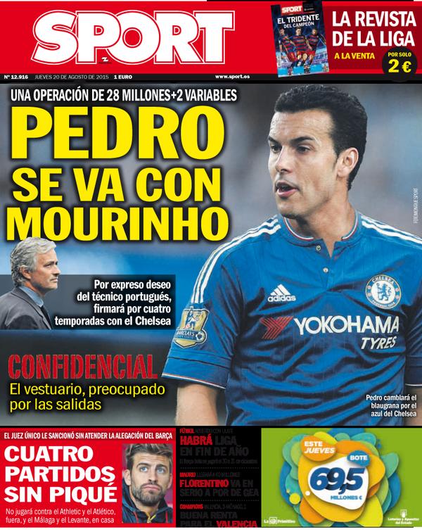 Portada de Sport del 20 de agosto de 2015