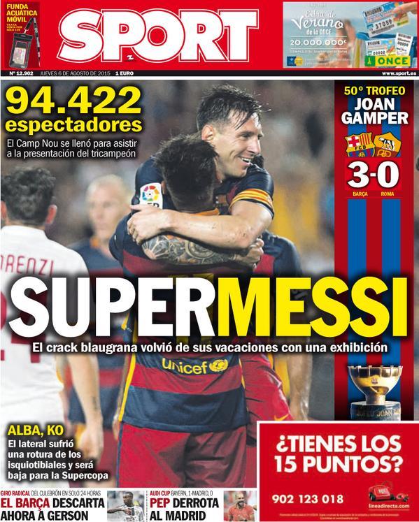 Portada de Sport del 6 de agosto de 2015
