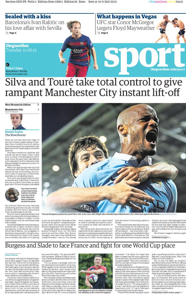 Portada de The Guardian del 11 de agosto de 2015