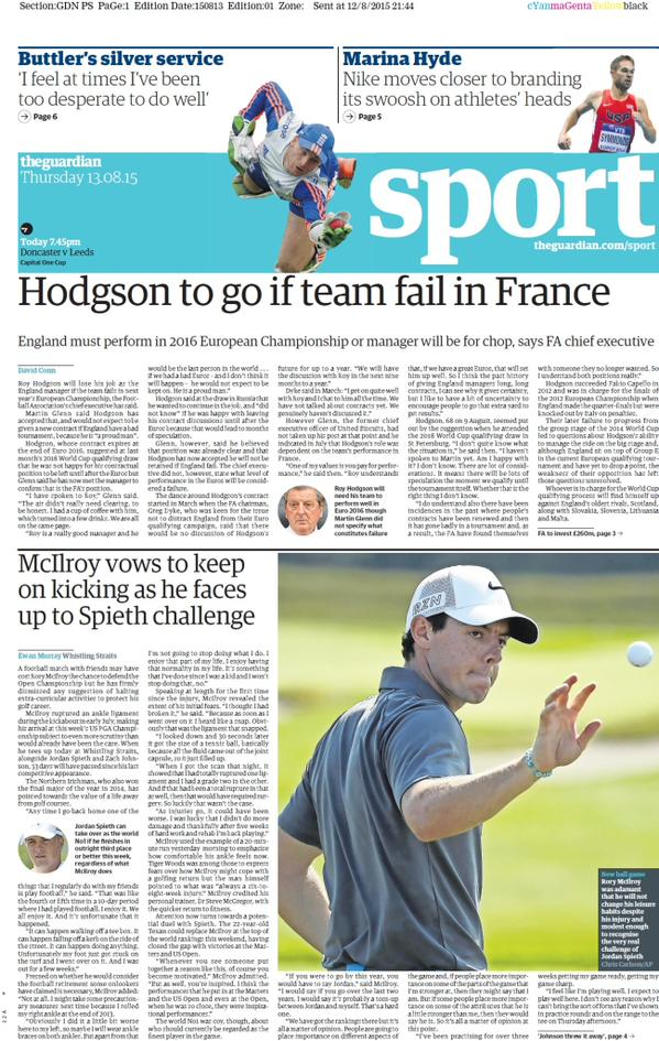 Portada de The Guardian  del 13 de agosto de 2015