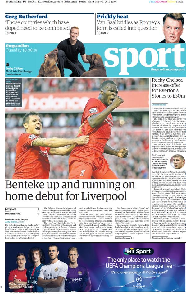 Portada de The Guardian del 18 de agosto de 2015