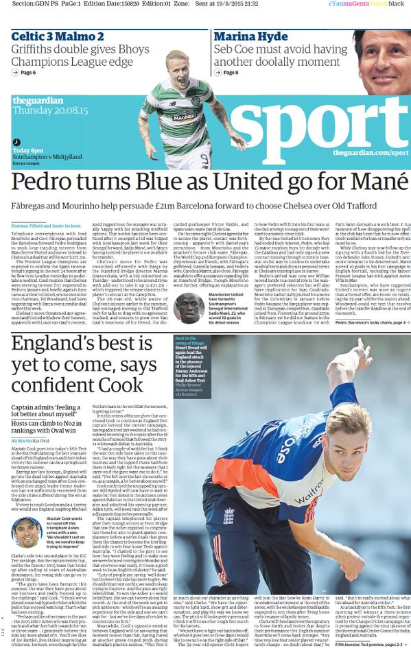 Portada de The Guardian del 20 de agosto de 2015
