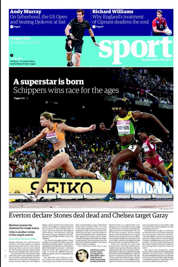 Portada de The Guardian del 28 de agosto de 2015
