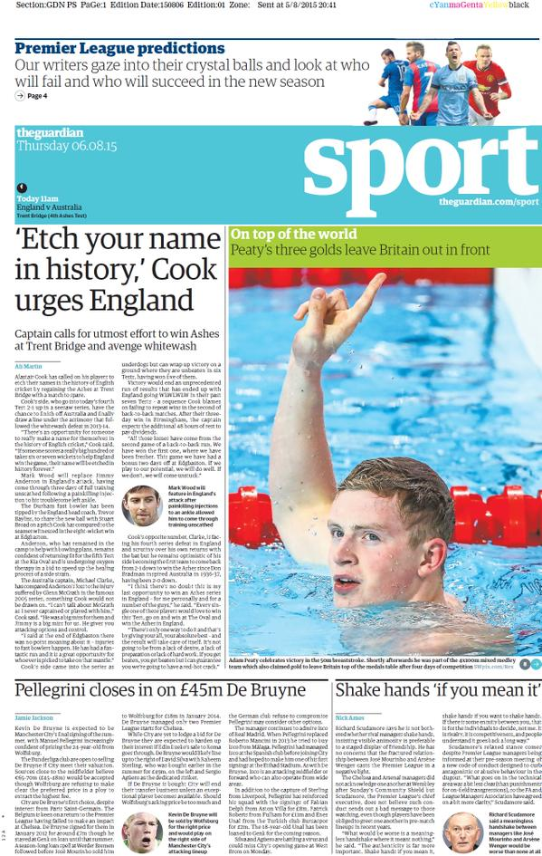 Portada de The Guardian del 6 de agosto de 2015