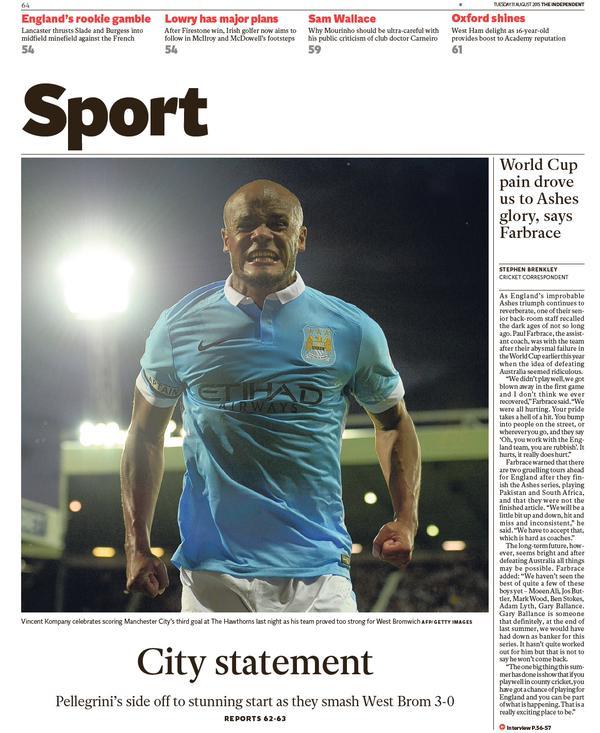 Portada de The Independent del 11 de agosto de 2015