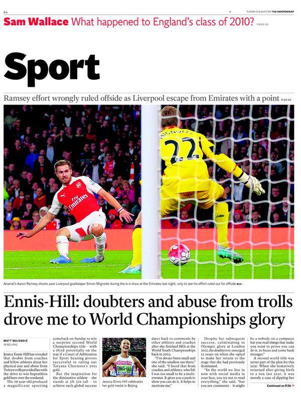 Portada de The Independent del 25 de agosto de 2015