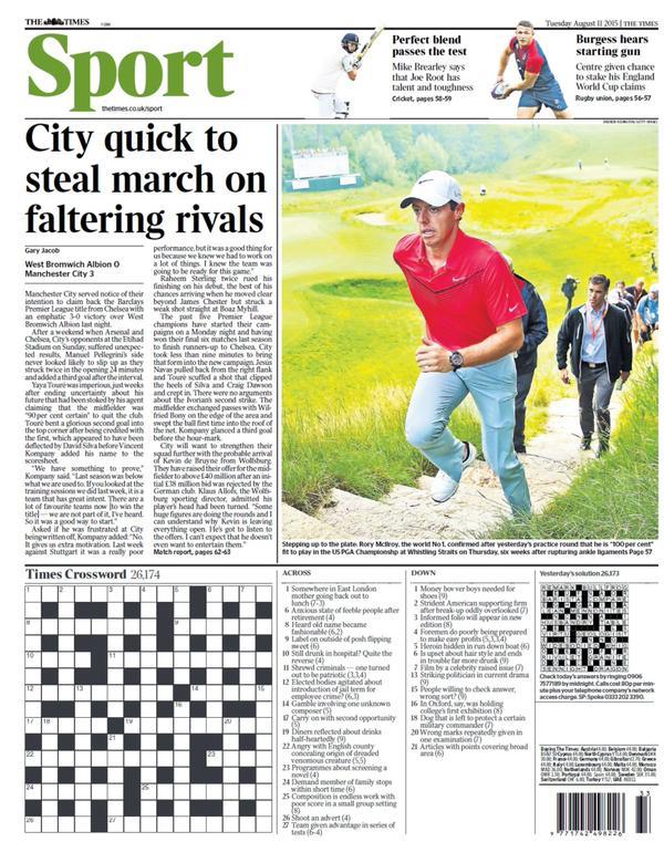 Portada de The Times del 11 de agosto de 2015