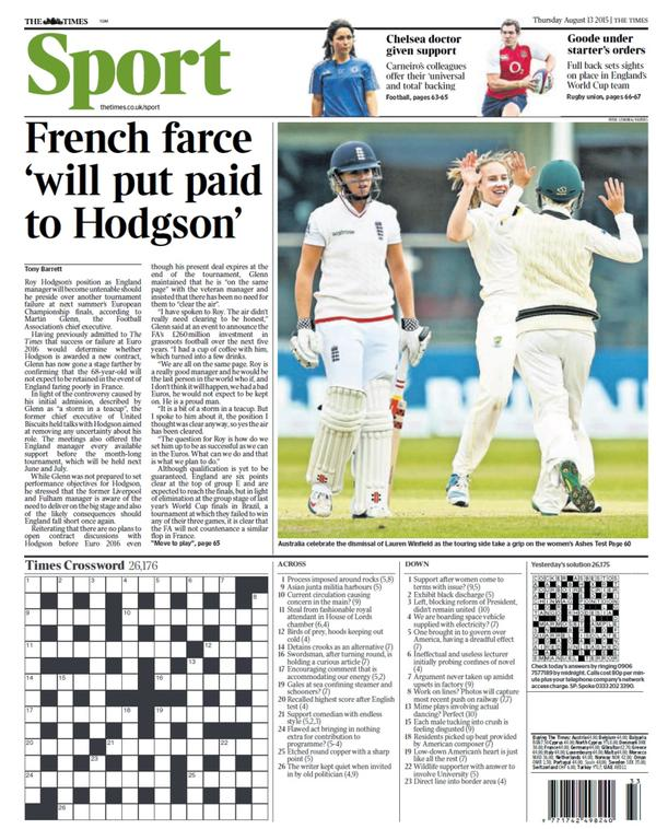 Portada de The Times  del 13 de agosto de 2015