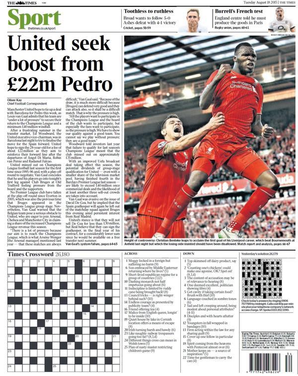Portada de The Times del 18 de agosto de 2015