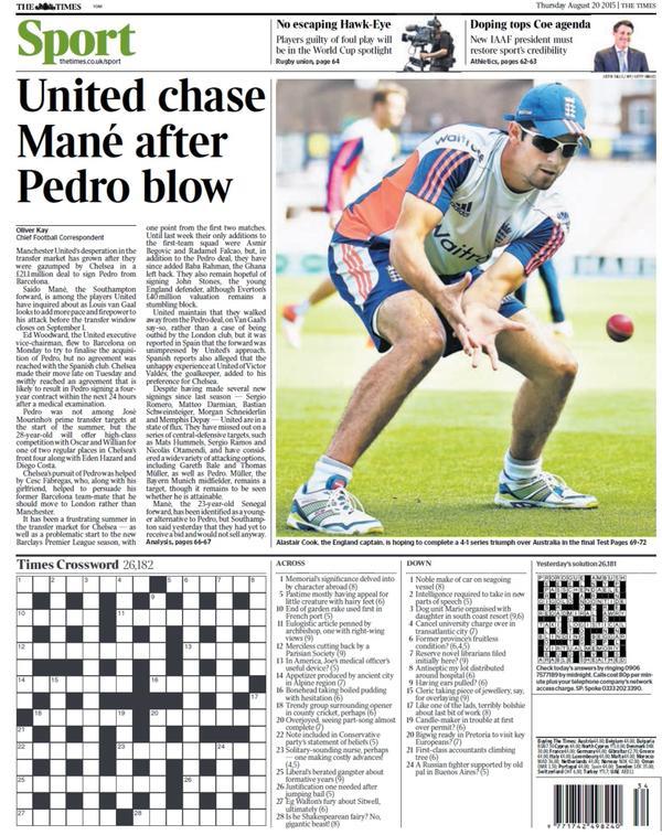 Portada de The Times del 20 de agosto de 2015