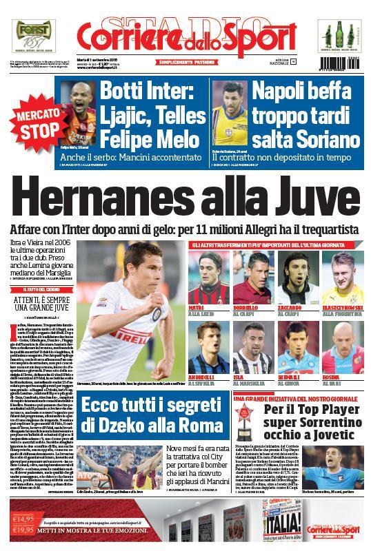 Portada de Corriere dello Sport del 1 de septiembre de 2015