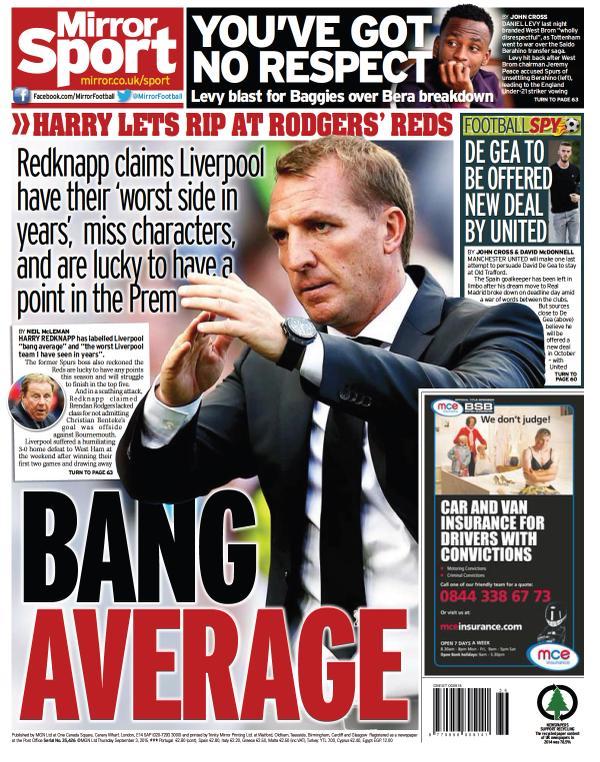 Portada de Daily Mirror del 3 de septiembre de 2015