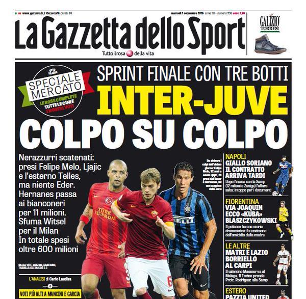 Portada de Gazzetta dello Sport del 1 de septiembre de 2015