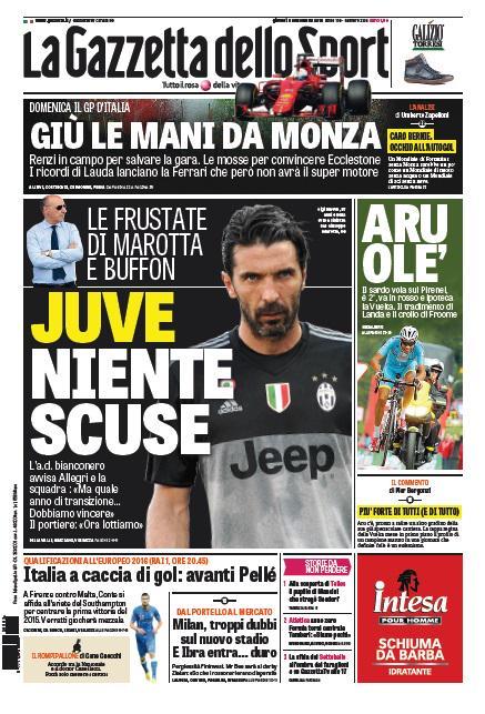 Portada de Gazzetta dello Sport del 3 de septiembre de 2015