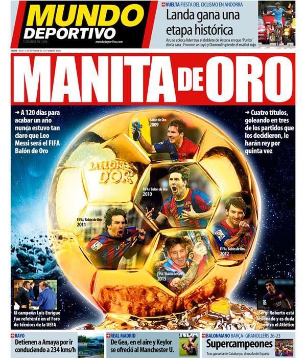 Portada de Mundo Deportivo del 3 de septiembre de 2015