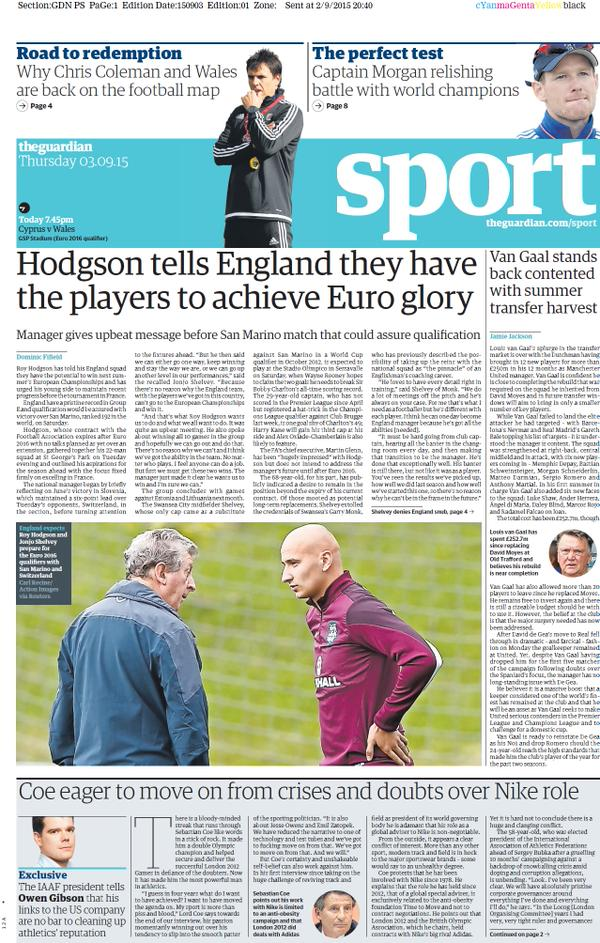 Portada de The Guardian del 3 de septiembre de 2015