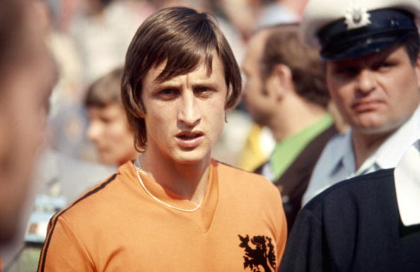 Dutch footballer Johan Cruyff at the World Cup football competition in West Germany, June-July 1974. (Photo by Getty Images)