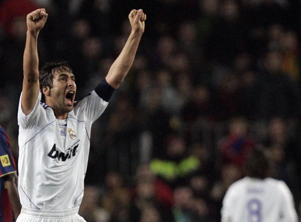 Real Madrid's Raul reacts after winning