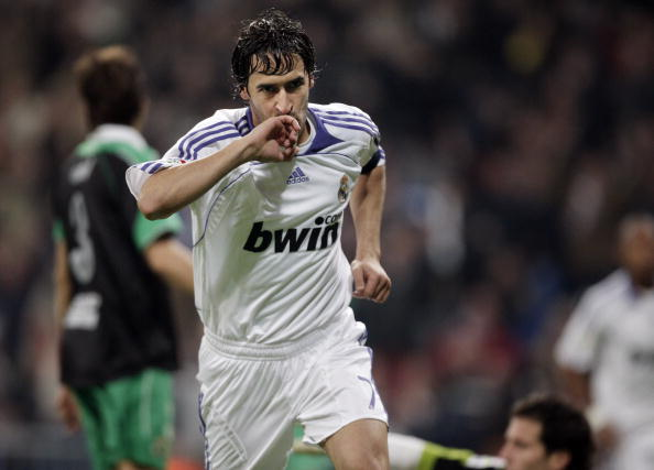 MADRID, SPAIN - DECEMBER 01: Raul Gonzalez of Real Madrid celebrates his goal during the La Liga match between Real Madrid and Racing Santander at the Santiago Bernabeu Stadium on December 1, 2007 in Madrid, Spain. Real Madrid won the match 3-1. (Photo by Jasper Juinen/Getty Images)