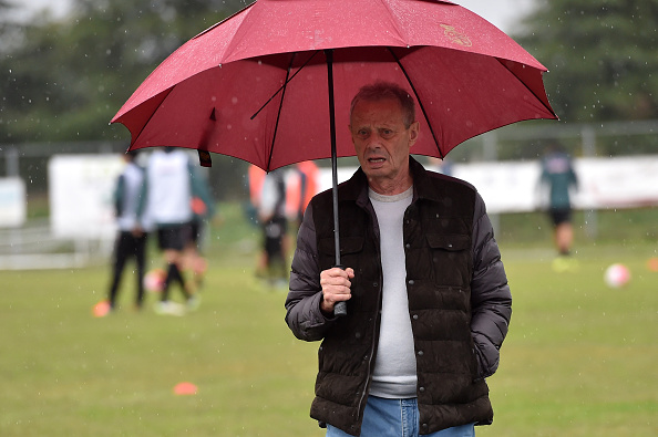 GRADISCA D'ISONZO, ITALY - OCTOBER 13:  President Maurizio Zamparini looks on during a Palermo training session at Stadio Gino Colaussi on October 13, 2015 in Gradisca d'Isonzo, Italy.  (Photo by Tullio M. Puglia/Getty Images)